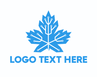 Technological - Circuit Maple Leaf logo design