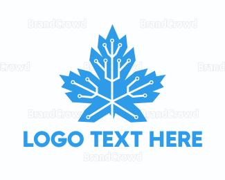 Technological - Circuit Maple Leaf logo design