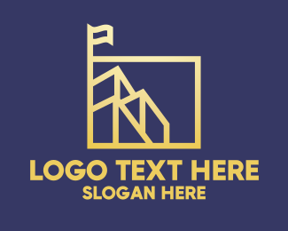 Gold Flag - Gold Building Square logo design