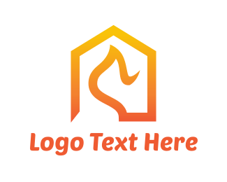 Fire - Abstract Orange House Roof logo design