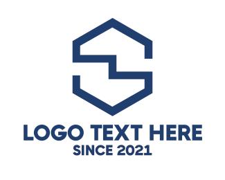 Fabrication - Blue Crooked S logo design