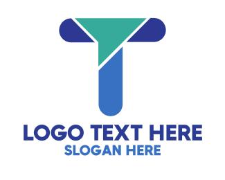 Modern Blue Letter T Logo