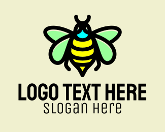 Organic Honey - Bumblebee Wasp Insect  logo design