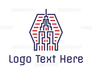 America - Abstract Blue Red Tower logo design