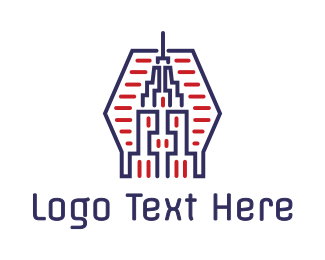 New York - Abstract Blue Red Tower logo design