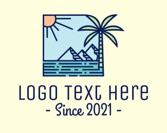 Mountain Range - Tropical Mountain Resort logo design