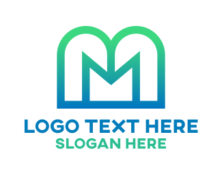 Sky Blue - Letter M Stroke  logo design