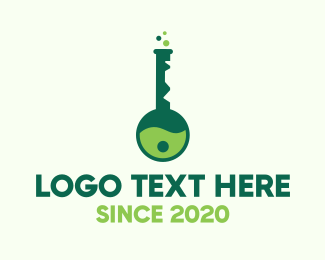 Laboratory Flask - Green Key Lab logo design