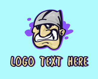 Street Style - Angry Face Character logo design