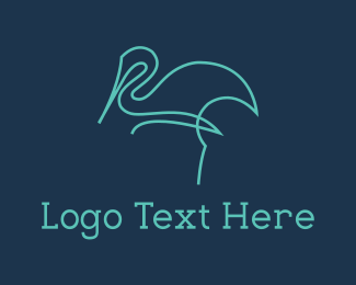 Blue Feather - Blue Line Stalk logo design