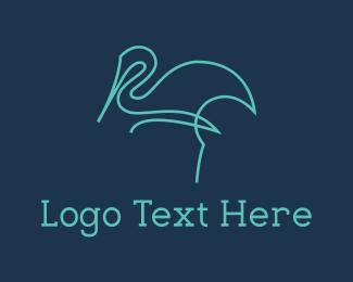 Heron - Blue Line Stalk logo design