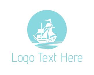 Sailboat - Blue Pirate Ship logo design
