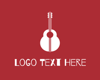 String - Red & White Guitar logo design