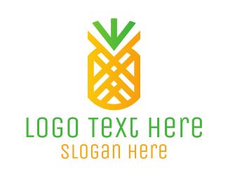 Diet - Modern Pineapple Outline logo design