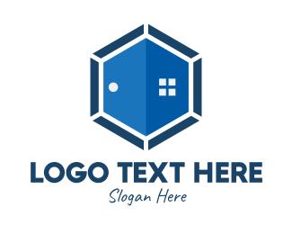 House Buying - Hexagon Door & Window logo design