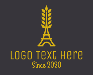 French - Gold Wheat French Bakery logo design