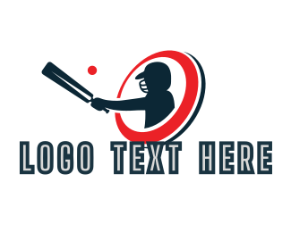 Player - Cricket Bat Player logo design