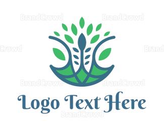 Herbal - Blue Green Orchid Flower logo design