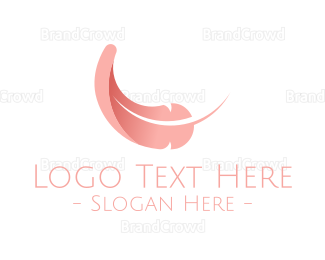 Pink Fallen Feather Logo Maker