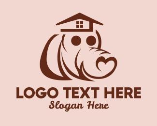 Animal Hospital - Heart Dog House  logo design