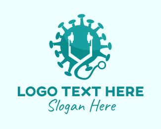 Doctor - Blue Virus Stethoscope  logo design