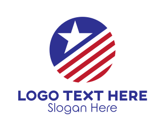 Waving - American Star Circle  logo design