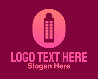 Architecture - Pink Building Letter O logo design