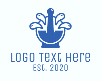 Mortar And Pestle - Blue Mortar & Pestle logo design