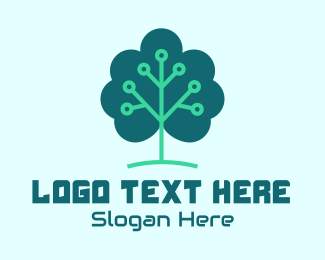 Vc - Tech Cloud Tree Circuit logo design