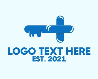 Health Care - Blue Health Key logo design