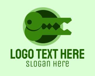 Key - Green Crocodile Key logo design