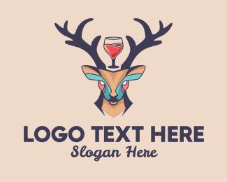 Sommelier - Deer Antlers Wine  logo design