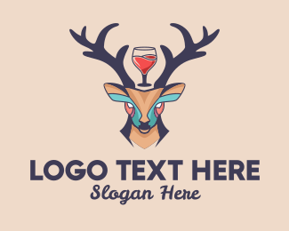 Antlers - Deer Antlers Wine logo design