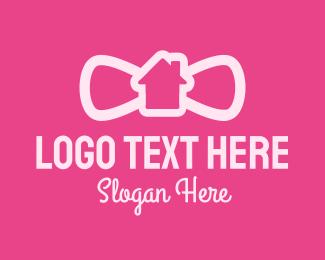 Home Rental - Pink Bowtie House logo design