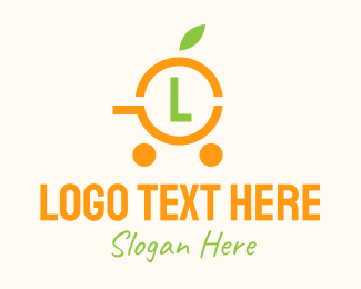Online Grocery - Simple Orange Cart Lettermark logo design