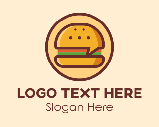 Message Bubble - Burger Chat  logo design