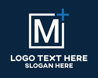 Plus - White Letter M logo design