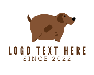 Brown Dog - Brown Fat Dog logo design