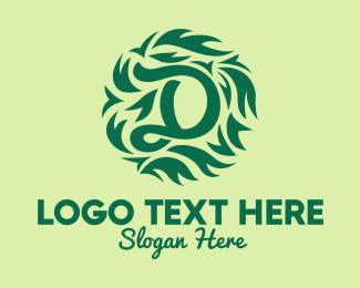 Bush - Green Organic Letter D logo design