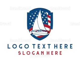 American Flag - Patriotic Boat logo design