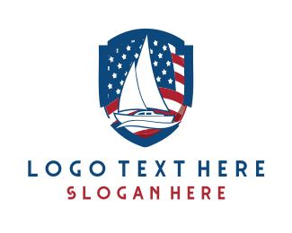 America - Patriotic Boat logo design