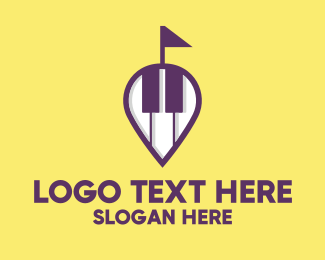 Pianist - Piano Music Store Location logo design