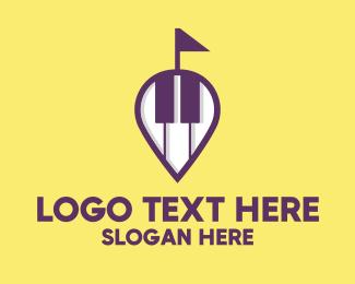 Location - Piano Music Store Location logo design