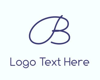 Signature - Blue  & Cursive logo design