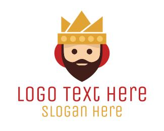 Facial Hair - Cartoon Beard King  logo design