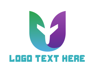 Wanderlust - Travel Airplane Letter U logo design