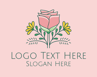 Flowers - Rose & Daisy Flowers  logo design