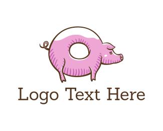 Sweet - Donut Pig logo design