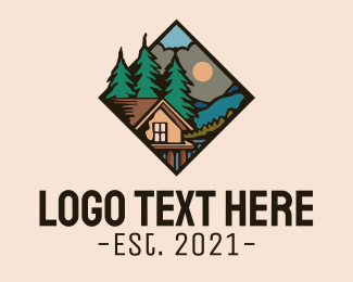 Campgrounds - Wood Forest Cabin logo design