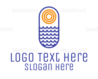 Water - Ocean Sun logo design
